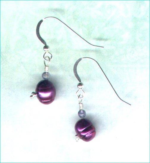 """Freshwater Pearl and Iolite Earrings """"Elderberry"""""""