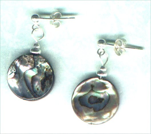Handmade Paua Shell and Sterling Silver Post Earrings - PreciousThings.ecrater.com