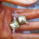 Peridot Puff Diamond Glass Beaded Post Earrings - PreciousThings.ecrater.com
