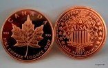 1 Oz Copper Canadian Maple Leaf Design