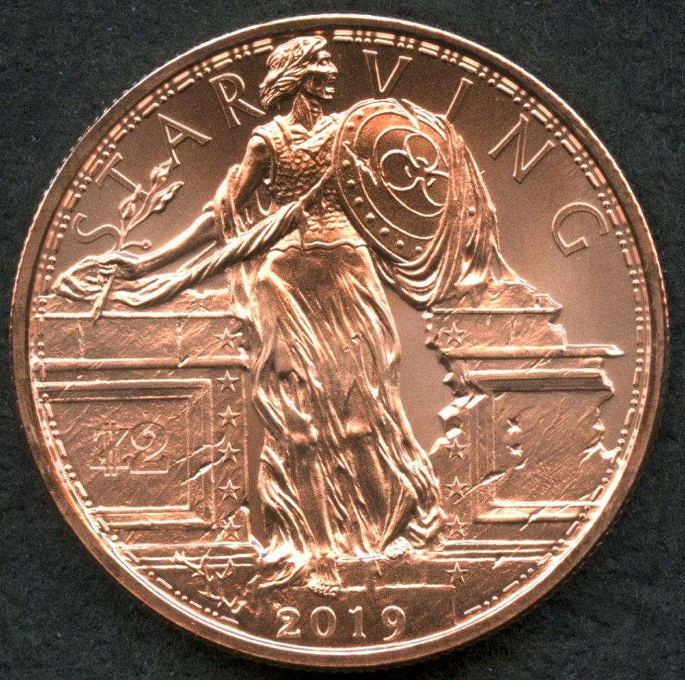 Zombucks® Starving Liberty 1 oz Copper Round