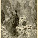 Tigris at Foot of Paradise, Gustave Dore, 126 year old antique engraving