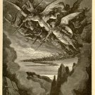 The Fallen Angels on the Wing, Gustave Dore, 126 year old antique engraving