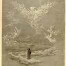 The Vision of the Sixth Heaven, Gustave Dore, 126 year old antique engraving