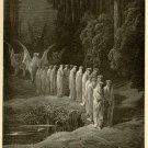 The Procession of the Elders, Gustave Dore, 126 year old antique engraving