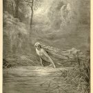 Dante and the River of Lethe, Gustave Dore, 126 year old antique engraving