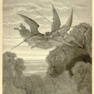 Ithuriel and Zephon, Angels, Gustave Dore, 126 year old antique engraving