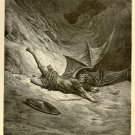 Satan Smitten by Archangel Michael, Gustave Dore, 126 year old antique engraving