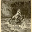 Charon, The Ferryman of Hell, Gustave Dore, 126 year old antique engraving