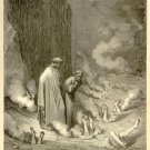 The Punishment of Simonists, Gustave Dore, 126 year old antique engraving