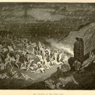 The Torture of the Fiery Rain, Gustave Dore, 126 year old antique engraving