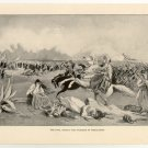 The Final Assault and Massacre at Missolonghi, 108 year old original antique print