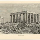 The Ruins of Aegina, 108 year old original antique print