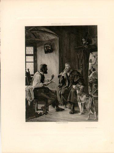 Albert Durer Visits Hans Sachs, 120 year old original antique photogravure