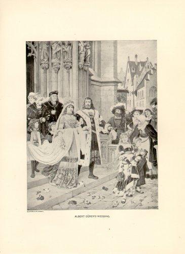Albert Durer's Wedding, 120 year old original antique print