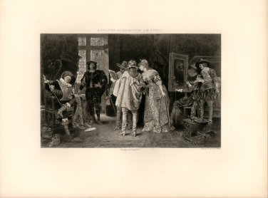 Connoisseurs at Rembrandt's Studio, 120 year old original antique photogravure