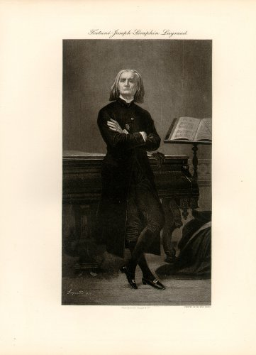 Franz Liszt, 120 year old original antique photogravure