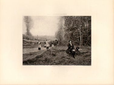 An Anecdote about Beethoven, 120 year old original antique photogravure