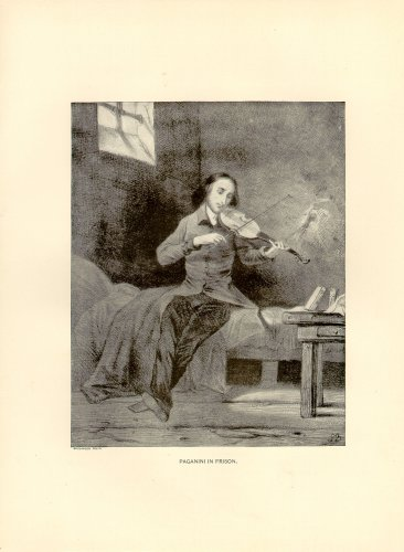 Paganini in Prison, violinist, 120 year old original antique print