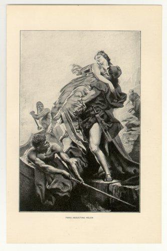 Paris Abducting Helen, 108 year old original antique print