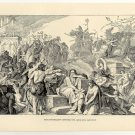 Nebuchadnezzar Carrying the Jews into Captivity, 108 year old original antique print