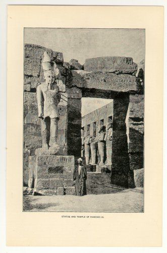 Statue and Temple of Rameses III, 108 year old original antique print
