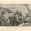 The Japanese Leading the Allies in the Storming of the Taku Forts, original antique art print