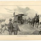 The American Cavalry at Tientsin, original antique art print