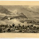 The Japanese Attack on Fort Botandai, original antique gravure