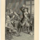 Stuyvesant Refusing the English Summons to Surrender, original antique art print
