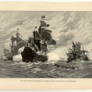 End of Smith's New England Venture, Ship Destroyed by the Spaniards, original antique art print