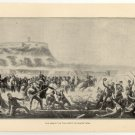 The Assault on the Castle of Chapultepec, original antique art print