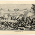 The Union Flight at Bull Run, original antique art print