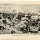 Sheridan Leading the Final Charge at Cedar Creek, original antique art print