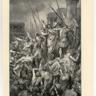 St. Paul Protected from the Mob by the Romans, 108 year old original antique print
