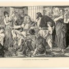 Alaric Receiving the Presents from the Athenians, 108 year old original antique print