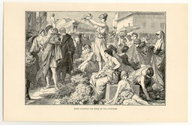 Cimon Courting the Favor of the Athenians, 108 year old original antique print