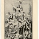 Croesus on the Funeral Pyre, 108 year old original antique print