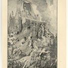 The Death of Sardanapalus, 108 year old original antique print
