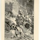 Rioting in Alexandria During the Bombardment, 108 year old original antique print