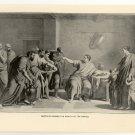 Dentatus Refuses the Wealth of the Sabines, 108 year old original antique print