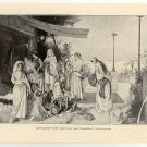 Carthaginian Women Sacrificing their Treasures to their Country, 108 year old original antique print