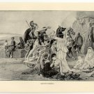 Hector's Farewell, 108 year old original antique print