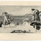 Greek Girls Playing Ball, 108 year old original antique print