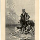 The Dream of Columbus, 108 year old original antique print