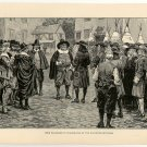 Penn Welcomed to Philadelphia by the Old Dutch Settlers, 108 year old original antique print