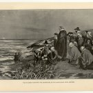 Pilgrims Watching the Departure of Mayflower from America, 108 year old original antique print