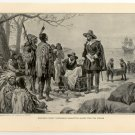 Governor Minuit Purchasing Manhattan Island from the Indians, 108 year old original antique print