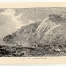 The White Cliffs of England, Beachy Head, Sussex, 108 year old original antique print