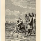 King Canute and the Waves, 108 year old original antique print